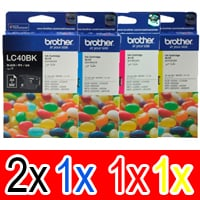 5 Pack Genuine Brother LC-40 Ink Cartridge Set (2BK,1C,1M,1Y)