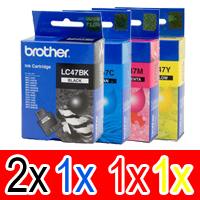 5 Pack Genuine Brother LC-47 Ink Cartridge Set (2BK,1C,1M,1Y)