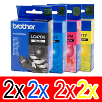 8 Pack Genuine Brother LC-47 Ink Cartridge Set (2BK,2C,2M,2Y)