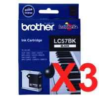 3 x Genuine Brother LC-57 Black Ink Cartridge LC-57BK