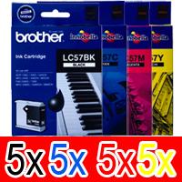 20 Pack Genuine Brother LC-57 Ink Cartridge Set (5BK,5C,5M,5Y)