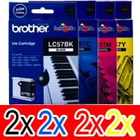 8 Pack Genuine Brother LC-57 Ink Cartridge Set (2BK,2C,2M,2Y)