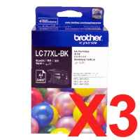 3 x Genuine Brother LC-77XL Black Ink Cartridge LC-77XLBK