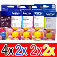 10 Pack Genuine Brother LC-77XL Ink Cartridge Set (4BK,2C,2M,2Y)