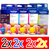 8 Pack Genuine Brother LC-77XL Ink Cartridge Set (2BK,2C,2M,2Y)
