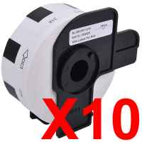10 x Compatible Brother DK-11218 White Paper Label Roll - 24mm Diameter - 1000 Labels per Roll