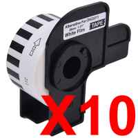 10 x Compatible Brother DK-22211 White Film Tape Roll - 29mm x 15.24m - Continuous Length