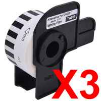 3 x Compatible Brother DK-22211 White Film Tape Roll - 29mm x 15.24m - Continuous Length