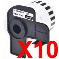10 x Compatible Brother DK-22212 White Film Tape Roll - 62mm x 15.24m - Continuous Length