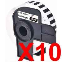 10 x Compatible Brother DK-22214 White Paper Tape Roll - 12mm x 30.48m - Continuous Length