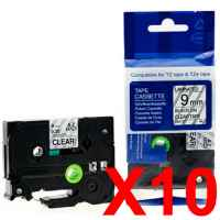 10 x Compatible Brother TZe-121 9mm Black on Clear Laminated Tape 8 metres