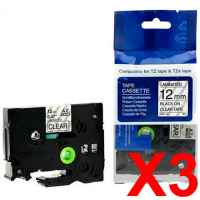 3 x Compatible Brother TZe-131 12mm Black on Clear Laminated Tape 8 metres