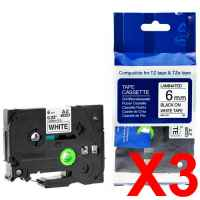 3 x Compatible Brother TZe-211 6mm Black on White Laminated Tape 8 metres