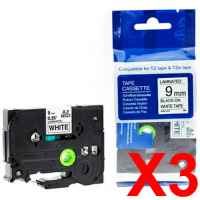 3 x Compatible Brother TZe-221 9mm Black on White Laminated Tape 8 metres