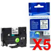 5 x Compatible Brother TZe-221 9mm Black on White Laminated Tape 8 metres