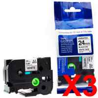 3 x Compatible Brother TZe-251 24mm Black on White Laminated Tape 8 metres
