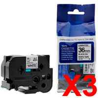 3 x Compatible Brother TZe-261 36mm Black on White Laminated Tape 8 metres