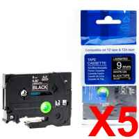 5 x Compatible Brother TZe-325 9mm White on Black Laminated Tape 8 metres