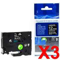 3 x Compatible Brother TZe-335 12mm White on Black Laminated Tape 8 metres