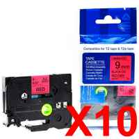 10 x Compatible Brother TZe-421 9mm Black on Red Laminated Tape 8 metres