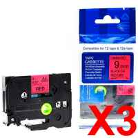 3 x Compatible Brother TZe-421 9mm Black on Red Laminated Tape 8 metres