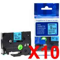 10 x Compatible Brother TZe-521 9mm Black on Blue Laminated Tape 8 metres