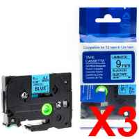 3 x Compatible Brother TZe-521 9mm Black on Blue Laminated Tape 8 metres