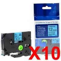 10 x Compatible Brother TZe-531 12mm Black on Blue Laminated Tape 8 metres
