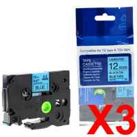 3 x Compatible Brother TZe-531 12mm Black on Blue Laminated Tape 8 metres