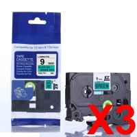 3 x Compatible Brother TZe-721 9mm Black on Green Laminated Tape 8 metres