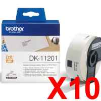 10 x Genuine Brother DK-11201 White Paper Label Roll - 29mm x 90mm - 400 Labels per Roll