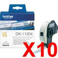 10 x Genuine Brother DK-11204 White Paper Label Roll - 17mm x 54mm - 400 Labels per Roll