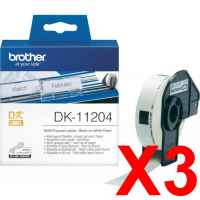 3 x Genuine Brother DK-11204 White Paper Label Roll - 17mm x 54mm - 400 Labels per Roll
