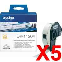 5 x Genuine Brother DK-11204 White Paper Label Roll - 17mm x 54mm - 400 Labels per Roll