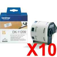 10 x Genuine Brother DK-11209 White Paper Label Roll - 29mm x 62mm - 800 Labels per Roll
