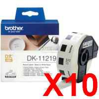 10 x Genuine Brother DK-11219 White Paper Label Roll - 12mm Diameter - 1200 Labels per Roll