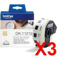 3 x Genuine Brother DK-11219 White Paper Label Roll - 12mm Diameter - 1200 Labels per Roll