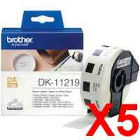 5 x Genuine Brother DK-11219 White Paper Label Roll - 12mm Diameter - 1200 Labels per Roll