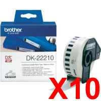 10 x Genuine Brother DK-22210 White Paper Tape Roll - 29mm x 30.48m - Continuous Length