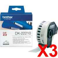 3 x Genuine Brother DK-22210 White Paper Tape Roll - 29mm x 30.48m - Continuous Length