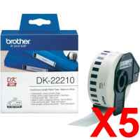 5 x Genuine Brother DK-22210 White Paper Tape Roll - 29mm x 30.48m - Continuous Length