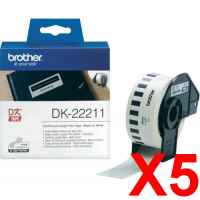 5 x Genuine Brother DK-22211 White Film Tape Roll - 29mm x 15.24m - Continuous Length