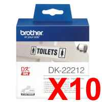 10 x Genuine Brother DK-22212 White Film Tape Roll - 62mm x 15.24m - Continuous Length