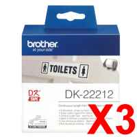 3 x Genuine Brother DK-22212 White Film Tape Roll - 62mm x 15.24m - Continuous Length