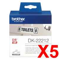 5 x Genuine Brother DK-22212 White Film Tape Roll - 62mm x 15.24m - Continuous Length