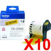 10 x Genuine Brother DK-22606 Yellow Film Tape Roll - 62mm x 15.24m - Continuous Length