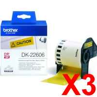 3 x Genuine Brother DK-22606 Yellow Film Tape Roll - 62mm x 15.24m - Continuous Length