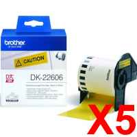 5 x Genuine Brother DK-22606 Yellow Film Tape Roll - 62mm x 15.24m - Continuous Length