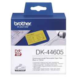 Brother DK44605 DK-44605 - 62mm x 30.48m - Continuous Length - Yellow Removable Paper Tape