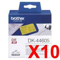 10 x Genuine Brother DK-44605 Yellow Removable Paper Tape Roll - 62mm x 30.48m - Continuous Length